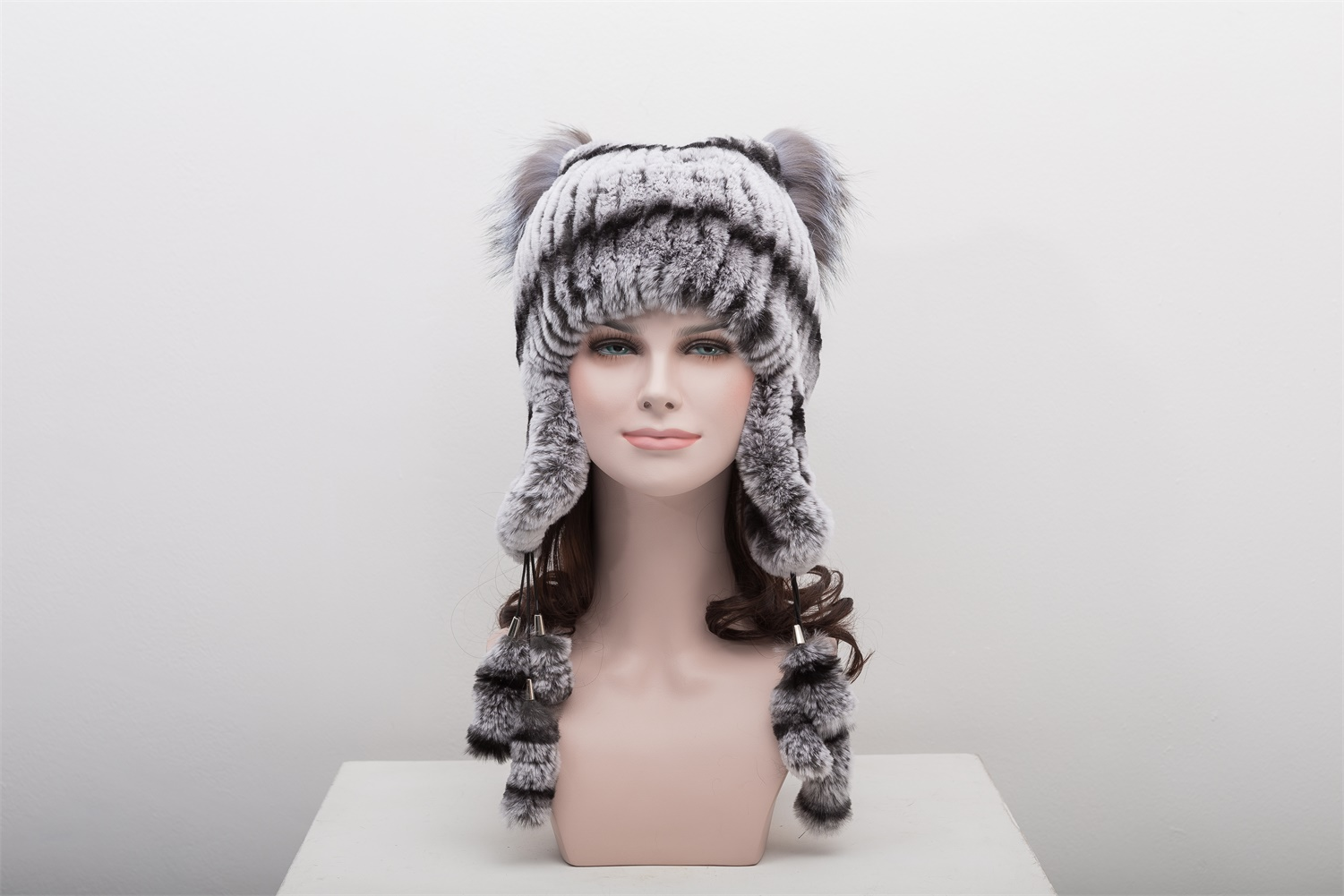 knitted rex rabbit fur hat with silver fox fur top 1704118 – Lvcomeff 34af270b93a