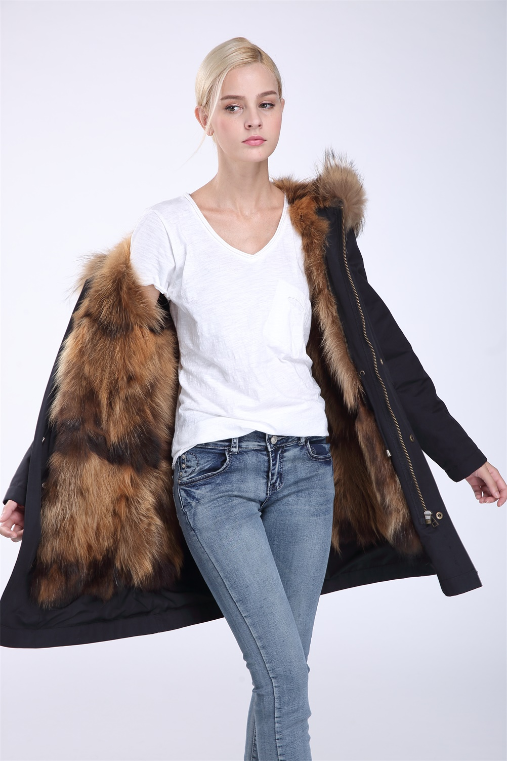 Wolf Fur Coat >> Parka Coat With Raccoon Fur Hood Trimming With Wolf Fur Lining