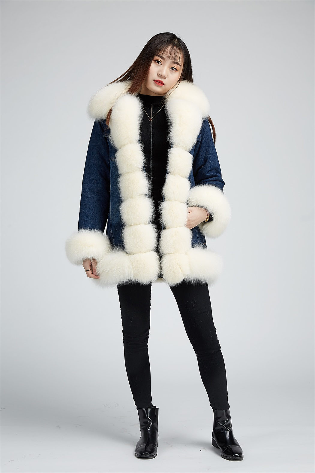 e81b81fb98f8 Denim coat with rex rabbit fur lining with fox fur trimming 1710028 ...