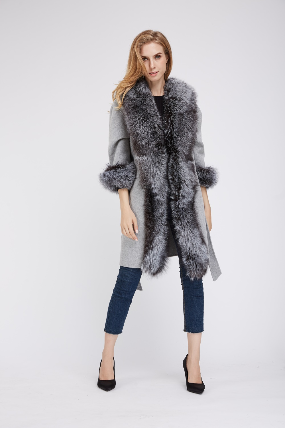 fashion styles on feet at release date: Long wool coat with silver fox fur collar cuffs with belt 1807002 ...