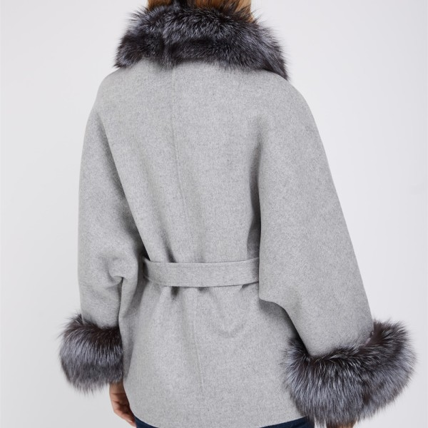 new lower prices no sale tax best shoes wool coat with silver fox fur color with belt cuffs 1807004 – Lvcomeff