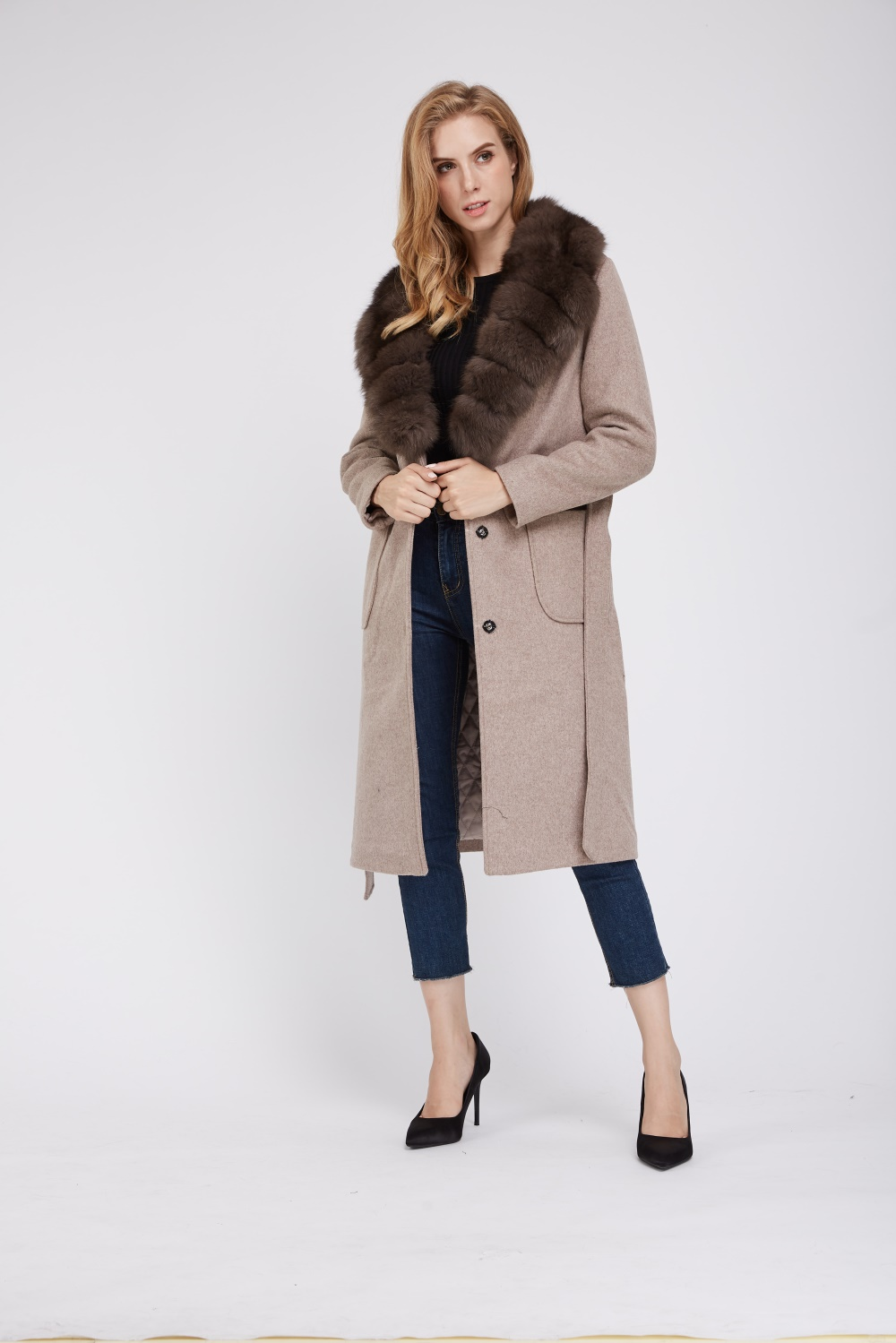new arrival multiple colors buy cheap Long wool coat with fox fur collar 1807009 – Lvcomeff